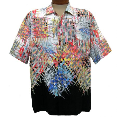 Men's Jams World® Short Sleeve Crushed Rayon Retro Shirt - Lattice