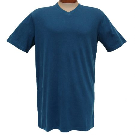 Men's Minerals® Short Sleeve Reverse Velvet Wash Pima Cotton High V-Neck Tee #MN-1017-PJ Deep Blue