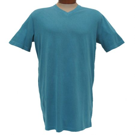 Men's Minerals® Short Sleeve Reverse Velvet Wash Pima Cotton High V-Neck Tee #MN-1017-PJ Sea Blue
