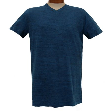 Men's Minerals® Short Sleeve Slub Stripe Vintage Wash High V-Neck Tee #1094 Deep Blue