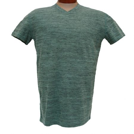 Men's Minerals® Short Sleeve Slub Stripe Vintage Wash High V-Neck Tee #1094 Sea Grass