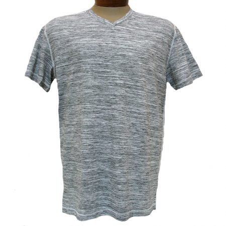 Men's Minerals® Short Sleeve Slub Stripe Vintage Wash High V-Neck Tee #1094 White