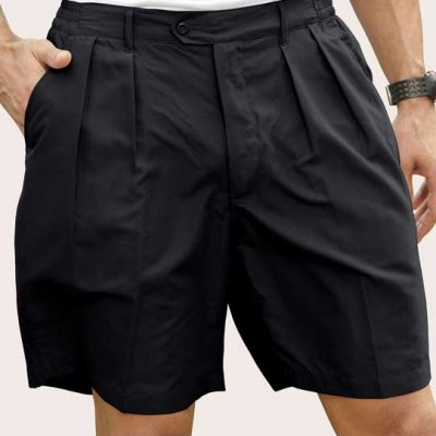 Men's Pro-Celebrity® Microfiber Golf Shorts #MF636-32 Black front view