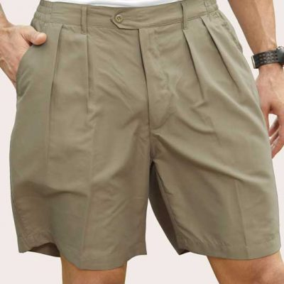 Men's Pro-Celebrity® Microfiber Golf Shorts #MF636 Khaki, Front View