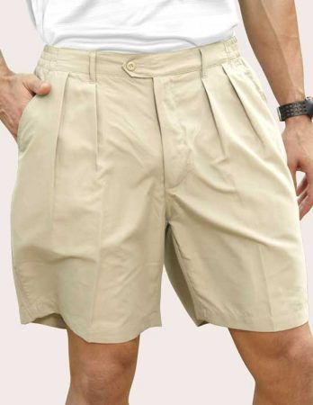 Men's Pro-Celebrity® Microfiber Golf Shorts #MF636 Stone Front View