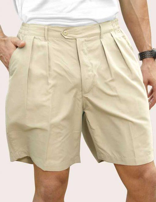 Men's Pro-Celebrity® Microfiber Golf Shorts #MF636 Stone Front View