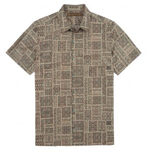 Men's Tori Richard Cotton Lawn Relaxed Fit Short Sleeve Shirt, Decipher #6370 Black