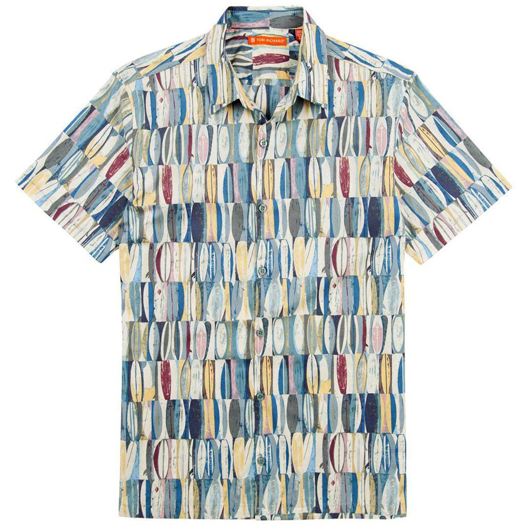 Men's Tori Richard® Cotton Lawn Short Sleeve Shirt, Board Room #0300-6383 Ocean Blue