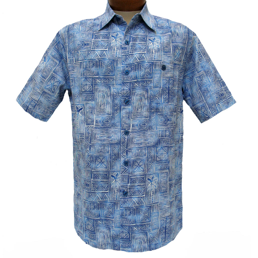 Men's Weekender® Short Sleeve Silk Blend Shirt, Pelago #M031482 Blue Lagoon
