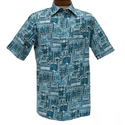 Men's Weekender® Short Sleeve Silk Blend Shirt, Tropic Grove #M031409 Bluestone