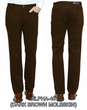 Men's ENZO® Jean Cut 100% Cotton Moleskin Finish Pant, Alpha-40 Brown