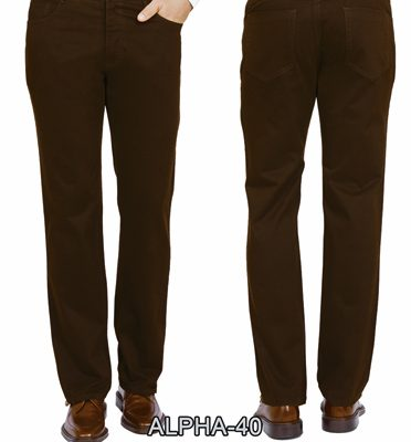 Men's ENZO® Jean Cut 100% Cotton Moleskin Finish Pant, Alpha-40 Brown