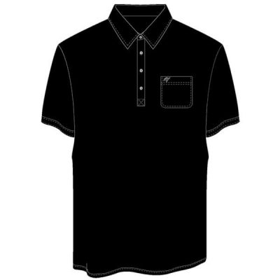 Men's Merola Short Sleeve Hard Collar Knit Golf Shirt Black