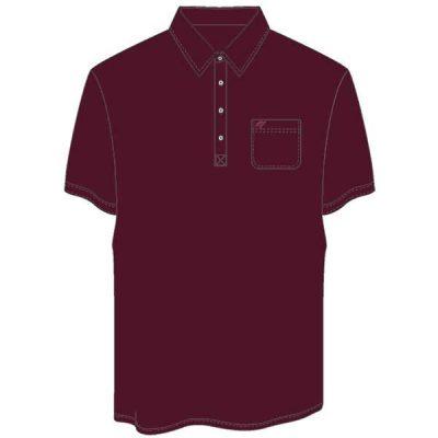 Men's Merola Short Sleeve Hard Collar Knit Golf Shirt Burgundy