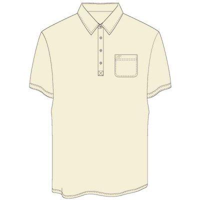 Men's Merola Short Sleeve Hard Collar Knit Golf Shirt Cream