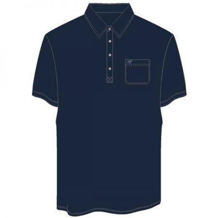 Men's Merola Short Sleeve Hard Collar Knit Golf Shirt Navy