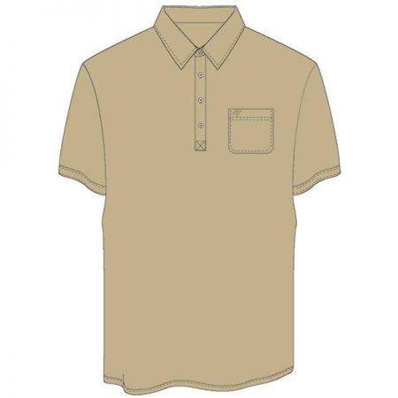 Men's Merola Short Sleeve Hard Collar Knit Golf Shirt Tan